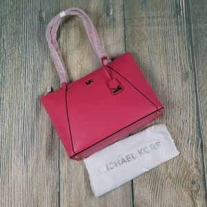 New MICHAEL KORS rose pink leather tote